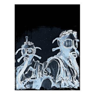 Blue Negative Image Gas Masks Postcard