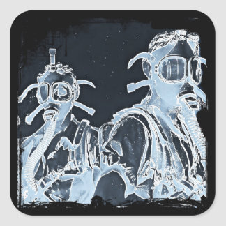 Blue Negative Image Gas Masks Square Sticker