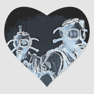 Blue Negative Image Gas Masks Heart Sticker