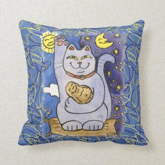Blue Neko with Buddha on Gold Pillow