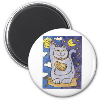 Blue Neko with Buddha on Gold Pillow Fridge Magnet