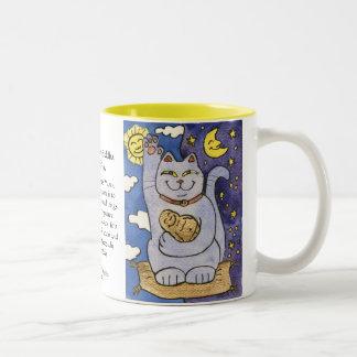 Blue Neko with Buddha on Gold Pillow Mug