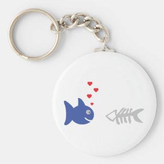 blue nekrophiliac fish icon basic round button keychain