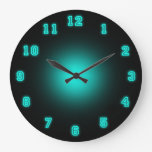 "Blue Neon 10.75"" Large Clock at Zazzle"