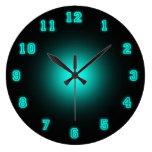 "Blue Neon 10.75"" Large Clock at Zazzle"
