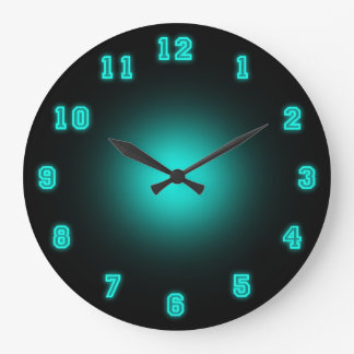 "Blue Neon 10.75"" Large Clock"