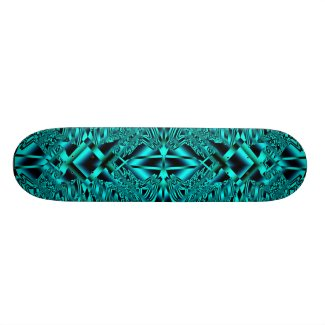 Blue Neon Abstract Crystals Skate Deck