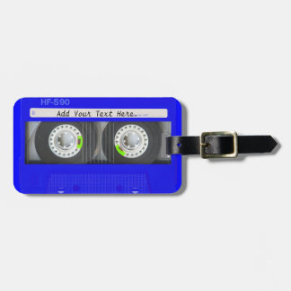 Blue Neon Cassette Tape Luggage Tag