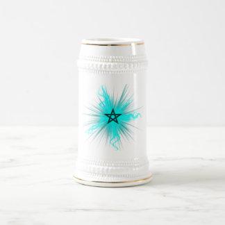 Blue Neon Glowing Pentagram - Pagan Symbol Beer Stein