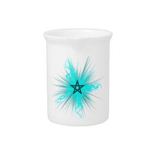 Blue Neon Glowing Pentagram - Pagan Symbol Beverage Pitchers