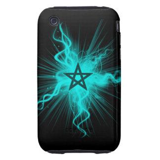 Blue Neon Glowing Pentagram - Pagan Symbol iPhone 3 Tough Cover