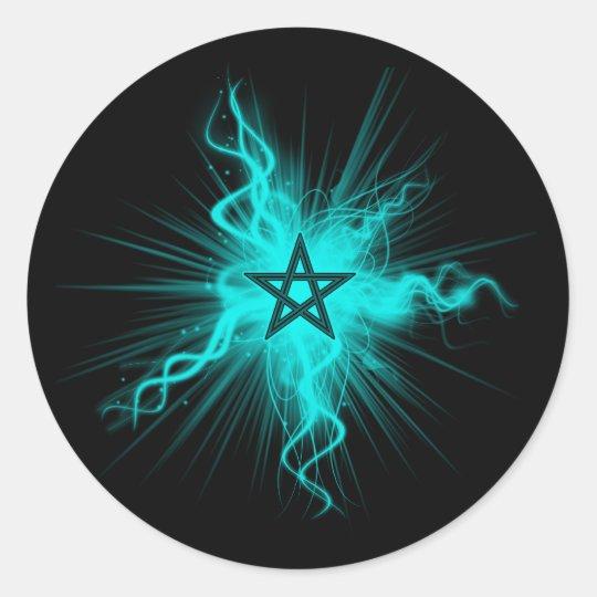 Blue Neon Glowing Pentagram - Pagan Symbol Classic Round Sticker