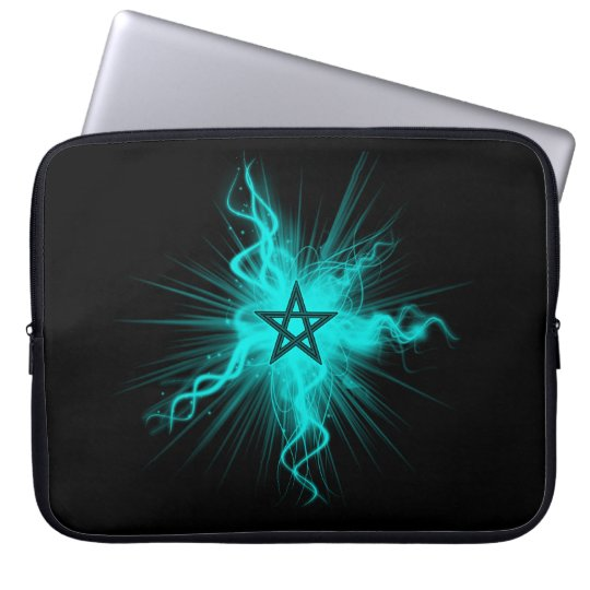 Blue Neon Glowing Pentagram - Pagan Symbol Laptop Sleeve