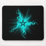 Blue Neon Glowing Pentagram - Pagan Symbol Mouse Pad