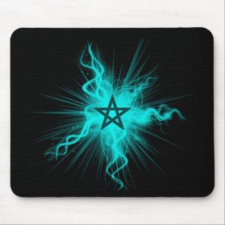 Blue Neon Glowing Pentagram - Pagan Symbol Mouse Pads