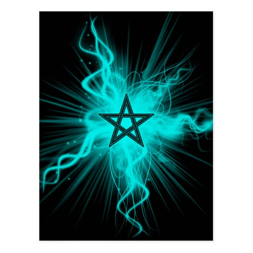 Blue Neon Glowing Pentagram - Pagan Symbol Postcard
