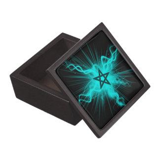 Blue Neon Glowing Pentagram - Pagan Symbol Premium Trinket Box