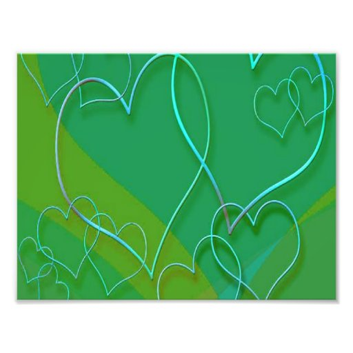 Blue Neon Hearts On Green Photo Print
