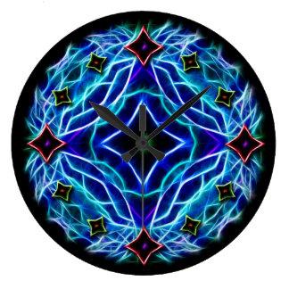 Blue Neon Kaleidoscope Large Clock