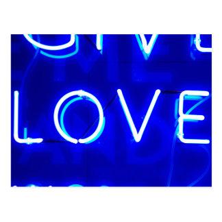 Blue Neon Love SIgn Postcard