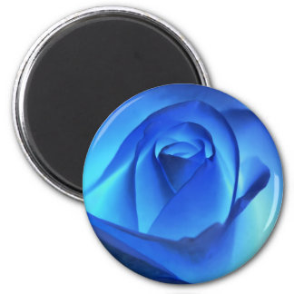 Blue Neon Rose Photograph 2 Inch Round Magnet