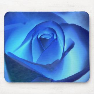 Blue Neon Rose Photograph Mouse Pad