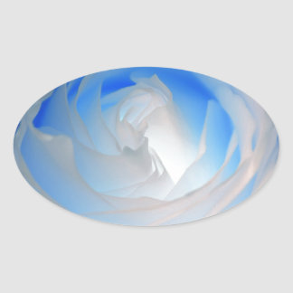 Blue Neon Rose Photograph Oval Sticker