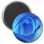 Blue Neon Rose Photograph Refrigerator Magnet