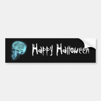 Blue Neon Side View X-ray Skull on Black Bumper Sticker