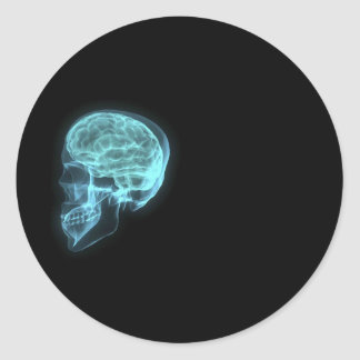 Blue Neon Side View X-ray Skull on Black Classic Round Sticker