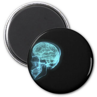 Blue Neon Side View X-ray Skull on Black Magnet