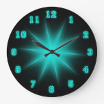 "Blue Neon Star 10.75"" Large Clock at Zazzle"