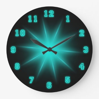 "Blue Neon Star 10.75"" Large Clock by arklights at Zazzle"