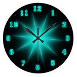 "Blue Neon Star 10.75"" Round Wall Clocks"