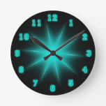 "Blue Neon Star 8"" Round Clock at Zazzle"