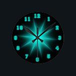 "Blue Neon Star 8&quot; Round Clock<br><div class=""desc"">Neon Wall Clock</div>"