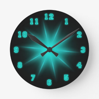 "Blue Neon Star 8"" Round Clock"
