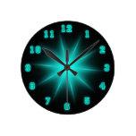 "Blue Neon Star 8"" Round Wall Clock"