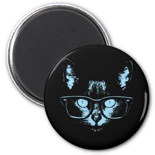 Blue Nerd Cat 2 Inch Round Magnet