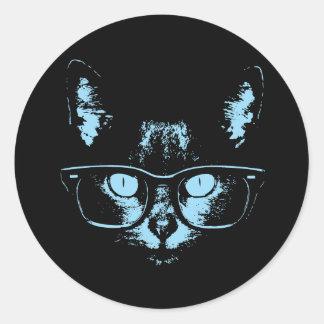 Blue Nerd Cat Classic Round Sticker
