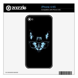 Blue Nerd Cat iPhone 4 Skins