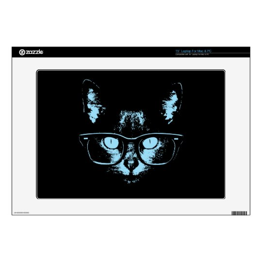 Blue Nerd Cat Laptop Decals