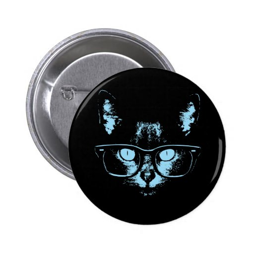 Blue Nerd Cat Pinback Button