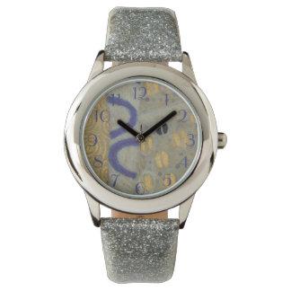 Blue Neutral Gold  Klimt Art Nouveau Patter Wristwatch
