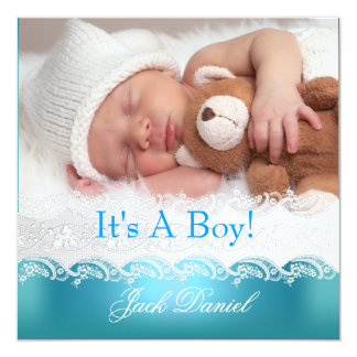 Blue New Baby Boy Anouncement Photo Card