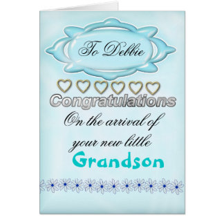 Blue New Baby Congratulations Card, Grandmother