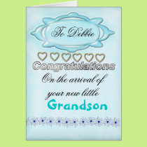 Blue New Baby Congratulations Card, Grandmother Card