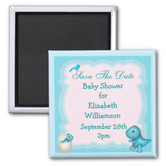 Blue New Born Dinosaur Save The Date Baby Shower 2 Inch Square Magnet