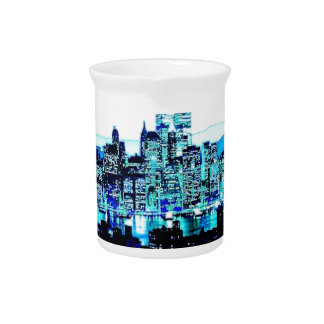 Blue New York Beverage Pitcher