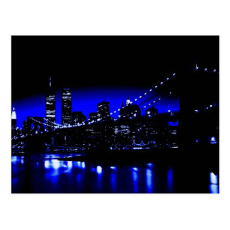 Blue New York City Brooklyn Bridge Postcard